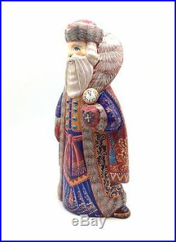 10.5 Tall Russian SANTA with clock Wooden Hand Carved Hand Painted SIGNED