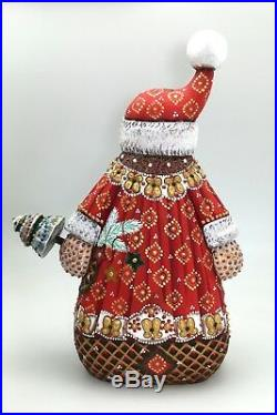 11.75 Tall Unique Shape Russian SANTA Father of Frost Hand Carved Hand Painted