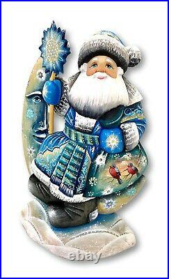 11 Tall Russian Santa on a Moon solid wood Hand Carved Painted Signed