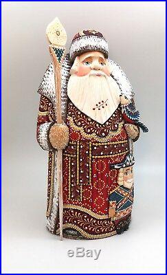 12.5Tall Russian SANTA with Nutcracker WoodHand Carved Hand Painted Father Frost