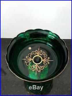 12 Tall Czech Bohemian Egermann Gold High Enamel Emerald Green Crystal Vase