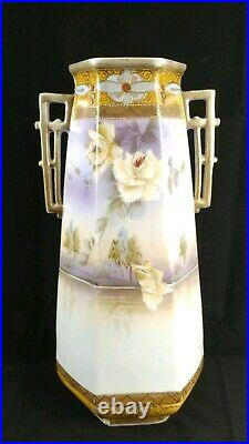 12 Tall Hand Painted Nippon 6 Sided Lake Floral Raised Gold Gild Scenery Vase