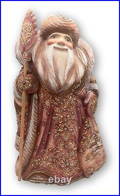 13 Tall Russian SANTA Wood HandCarved HandPainted Father Frost Unique Artwork