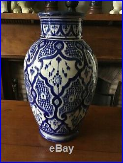14 Tall Blue & White Hand Painted Antique Moroccan Safi Vase. Marked To Base