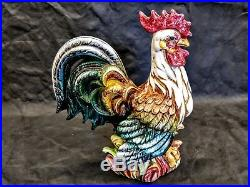 15 Inch Tall Ceramic Rooster Vintage Hand Painted Made In Italy Kitchen Decor