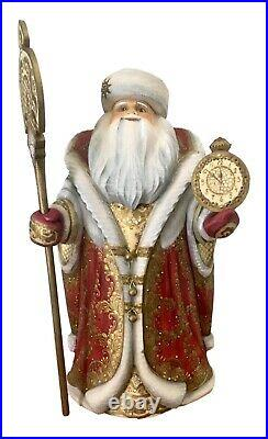 17 Tall Unique ART WORK solid wood Hand Carved Painted Russian SANTA