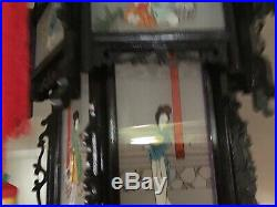 18 Tall Vintage Chinese Lantern With Handpainted Glass Panels