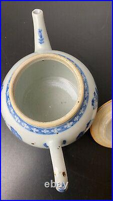 1800s Oriental Chinese Tall Ceramic Traditional Hand-Painted Teapot 12cm
