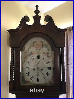 1800s Tall Case English Grandfather Clock, Hand Painted Face Beautiful