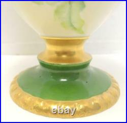 1879-1909 Magnificent Belleek Willets Hand Painted Purple Clematis 14 Tall Vase