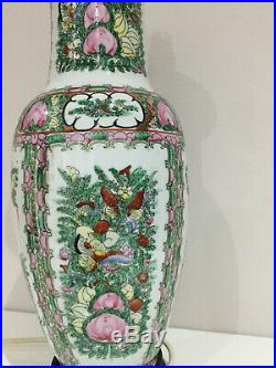 18Tall Famille Rose Yang Cheng Vase Lamp Base, Chinese Porcelain hand painted