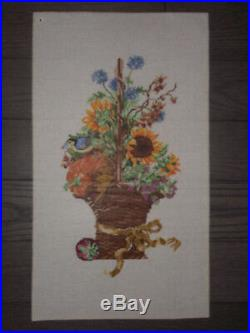 19 Tall Handpainted Needlepoint Canvas Autumn Basket Retail $248 HP Np