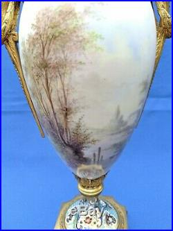 19th C. Handpainted Sevres Porcelain Ormolu Champleve Vase Signed 21 Tall
