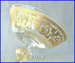 2 Vintage SALVIATI Enamel Murano Italy Venetian 8 1/4 Tall Champagne Wine Glass
