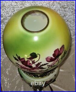 23 Tall Antique ART NOUVEAU FLORAL HAND PAINTED GWTW PARLOR OIL LAMP Converted