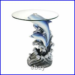 24 Tall Glass top End Table, Polyresin Dolphin Base