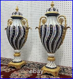 32 Tall Pair Dresden Porcelain Hand Painted Bronze French Style Cobalt Vases
