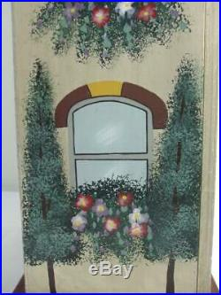 36 Tall Wooden House Design Cabinet w Steep Roof Hand Painted 4 Shelves 1 Door