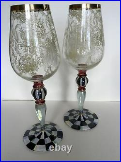4 AUTHENTIC Mackenzie Childs Blooming Wine Glasses 11 Tall GORGEOUS