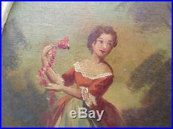 58807 French Open Carved Tall Mirror with Hand Painted ARTIST SIGNED Painting