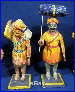 6 Vtg Antique Hand Painted Folk Art Carved Wood Figurines India Colorful 7 Tall