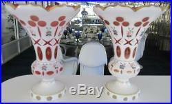 7 Tall Pr Cranberry Cabochon & Hand Painted Gold Bohemian Czech Art Glass Vases