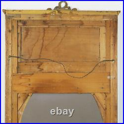 72 Tall Vintage Antique Sage Green & Gilt Hand Painted French Trumeau Mirror