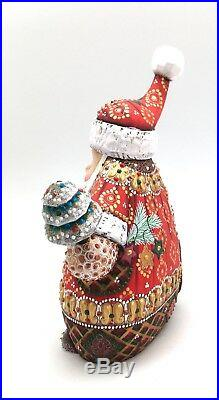 8.75 Tall Unique Shape Russian SANTA Father of Frost Hand Carved Hand Painted