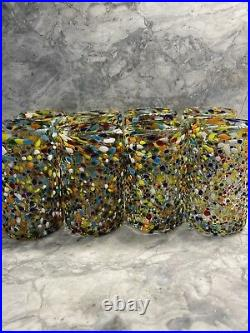 8 New Hand Blown Mexican Recycled Confetti Multi-color Drinking Glasses Tall Cup