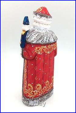 9.75 Tall Russian SANTA NUTCRACKER Wood Hand Carved Hand Painted Signed