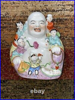 9 Tall Porcelain Laughing Buddha With Children Statue Antique China