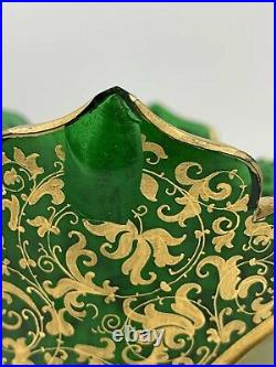 999864 Tall White Over Emerald Glass Vase With Painted Lady & Gold Filigree