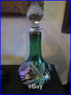 ANTIQUE 13 Legras Mont Joye Art Glass Decanter Hand Enameled LILYS