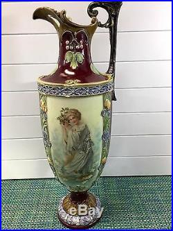 ANTIQUE Art Nouveau Tall Floral Ewer Vase HAND PAINTED FEMALE IN GOWN 20 HIGH