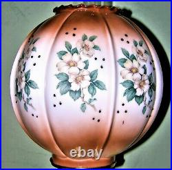 ANTIQUE BRASS TALL BANQUET ELECTRIFIED OIL LAMP WithFLORAL HAND PAINTED SHADE