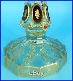 ANTIQUE MOSER Czech GOLD GILT ETCHED RUBY WINDOW PANE TALL CANDLESTICK RARE