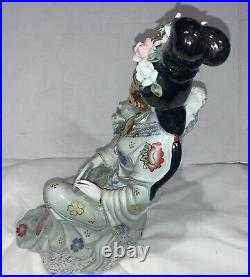 AWESOME Vintage GEISHA GIRL Hand Painted Porcelain STATUE/FIGURINE 16 Tall