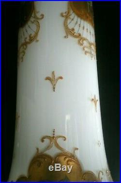 Amazing Rare 29.5 Tall Antique Bohemian Czech Venetian Glass 24kt Gold Vase