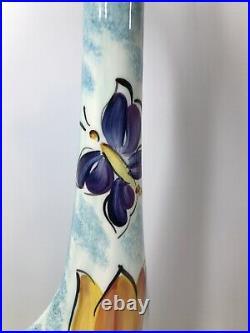 Anatoly Turov Hand Painted 25 Tall GIRAFFE Statue Figure Tulip Butterfly Art
