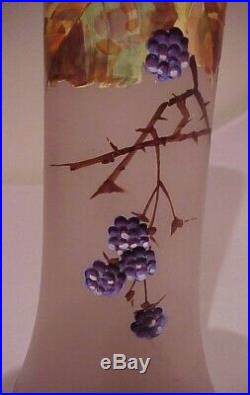 Antique 11 1/2 Tall Frosted Lavender Glass Hand Painted Blackberries Vase