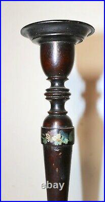 Antique 1700's tall hand turned painted English wooden candlestick candle holder
