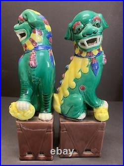 Antique 19th C. Foo Dog Statue Porcelain Chinese Fu Lion Pair Guardian 10 Tall