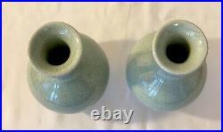 Antique 2 Chinese Crackle Celadon Vase Porcelain Oriental Vase 6 Ins Tall