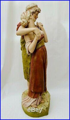 Antique Art Nouveau Royal Dux Hand Painted Figure Group The Lovers c. 50cm Tall