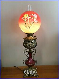 Antique B&H Hand Painted Gone With The Wind Lamp, Perfect Condition, 32 Tall