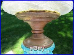 Antique BLUE clear glass pedestal oil lamp 11.5 tall OLD EAPG HAND PAINTED