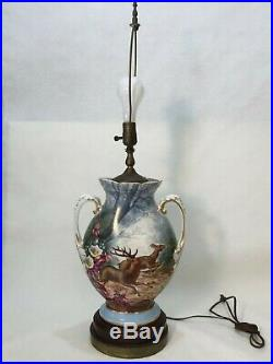 Antique Bawo and Dotter BD Limoges Handpainted Urn Vase Table Lamp, 32 Tall