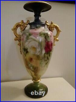 Antique Belleek Hand Painted Porcelain Vase Urn Roses 17 tall Coxon & Lenox