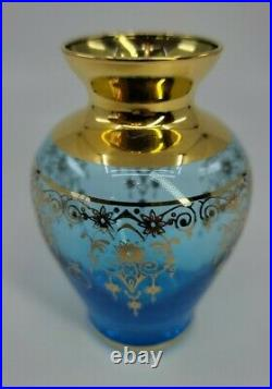 Antique Bohemian Glass Vase Beautiful Blue Enamel Gold Trim 4.25 Tall EUC