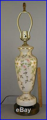 Antique Bohemian Hand Painted Enamel Gilded Cased Glass Tall Banquet Table Lamp